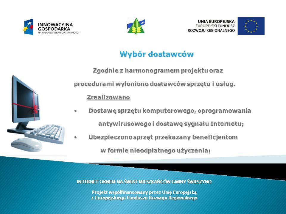Wybór dostawców Zgodnie z harmonogramem projektu oraz