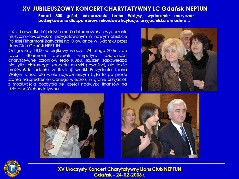 XV Uroczysty Koncert Charytatywny Lions Club NEPTUN