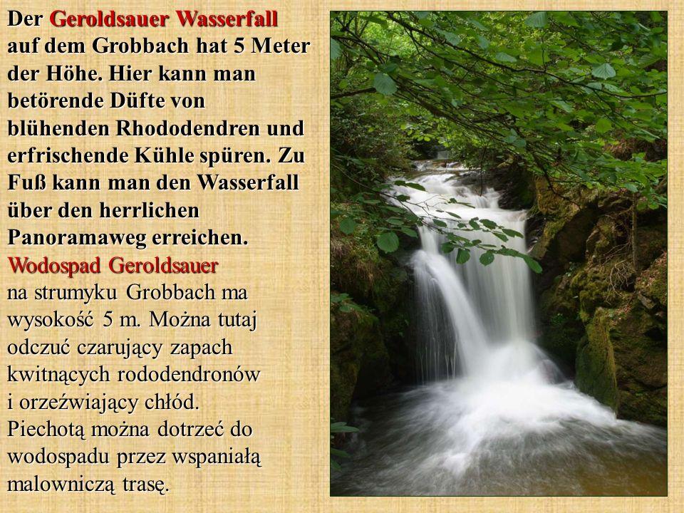 Der Geroldsauer Wasserfall auf dem Grobbach hat 5 Meter der Höhe