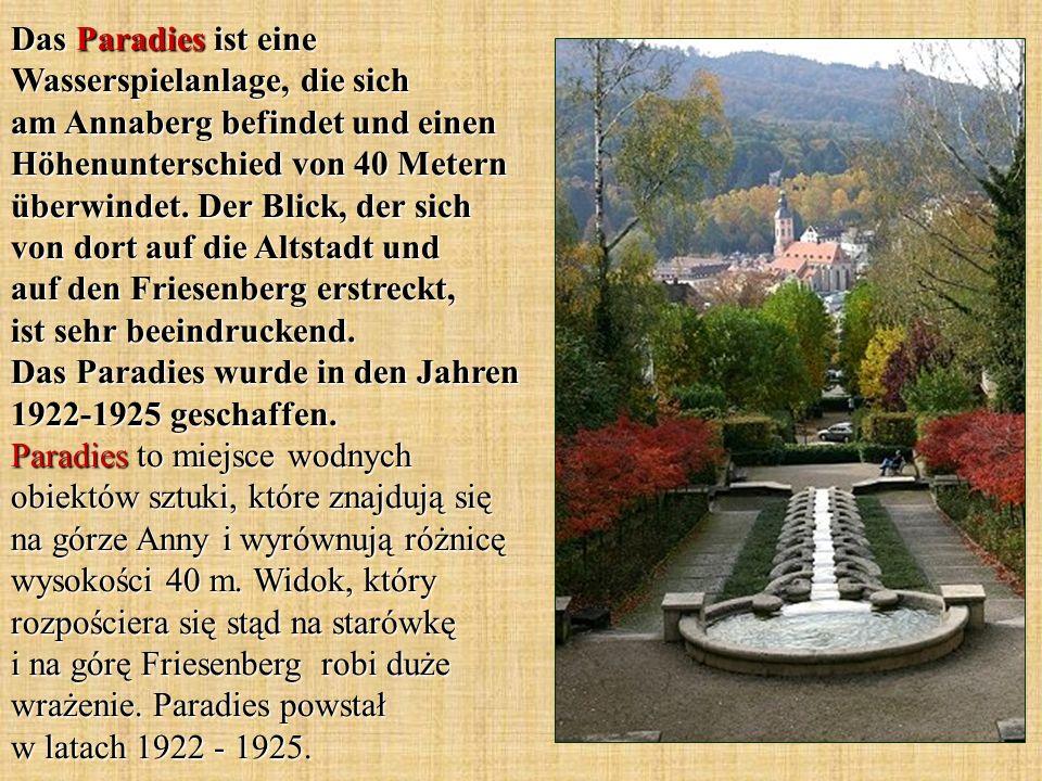 Das Paradies ist eine Wasserspielanlage, die sich am Annaberg befindet und einen Höhenunterschied von 40 Metern überwindet.