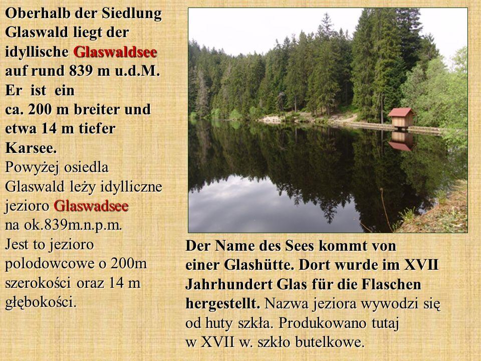 Oberhalb der Siedlung Glaswald liegt der idyllische Glaswaldsee auf rund 839 m u.d.M. Er ist ein ca. 200 m breiter und etwa 14 m tiefer Karsee. Powyżej osiedla Glaswald leży idylliczne jezioro Glaswadsee na ok.839m.n.p.m. Jest to jezioro polodowcowe o 200m szerokości oraz 14 m głębokości.