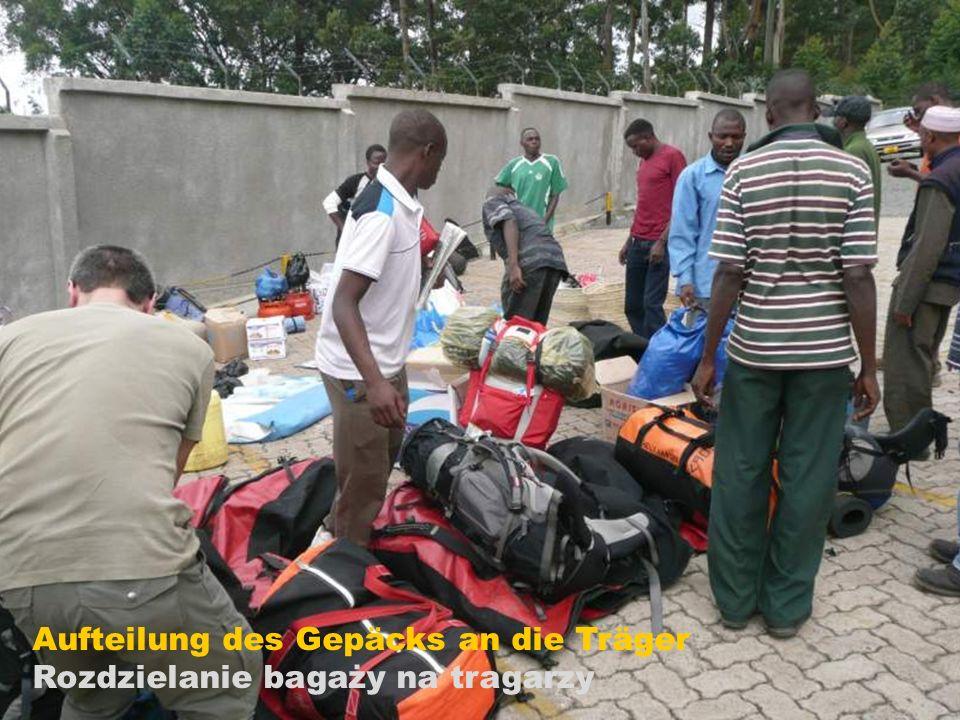 Aufteilung des Gepäcks an die Träger
