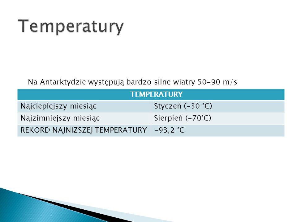 Temperatury Na Antarktydzie występują bardzo silne wiatry 50-90 m/s