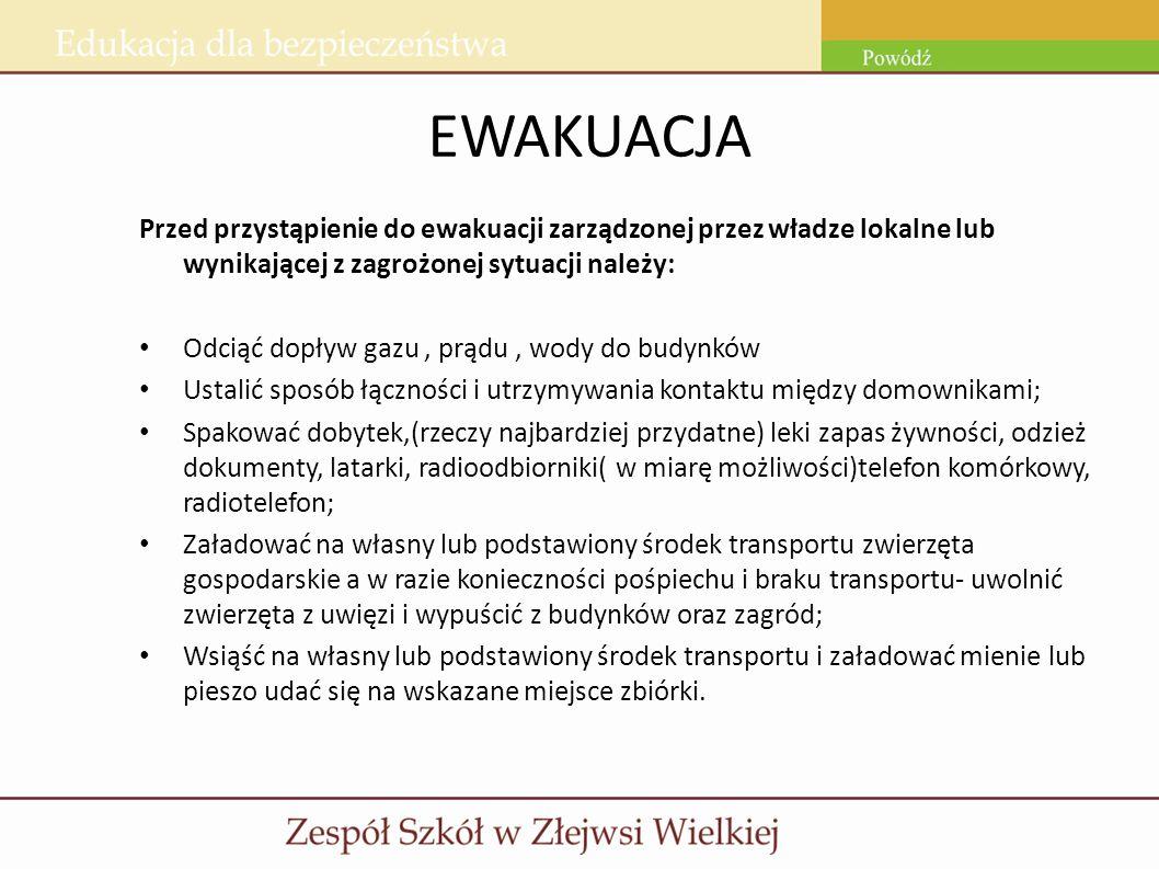 EWAKUACJA Przed przystąpienie do ewakuacji zarządzonej przez władze lokalne lub wynikającej z zagrożonej sytuacji należy: