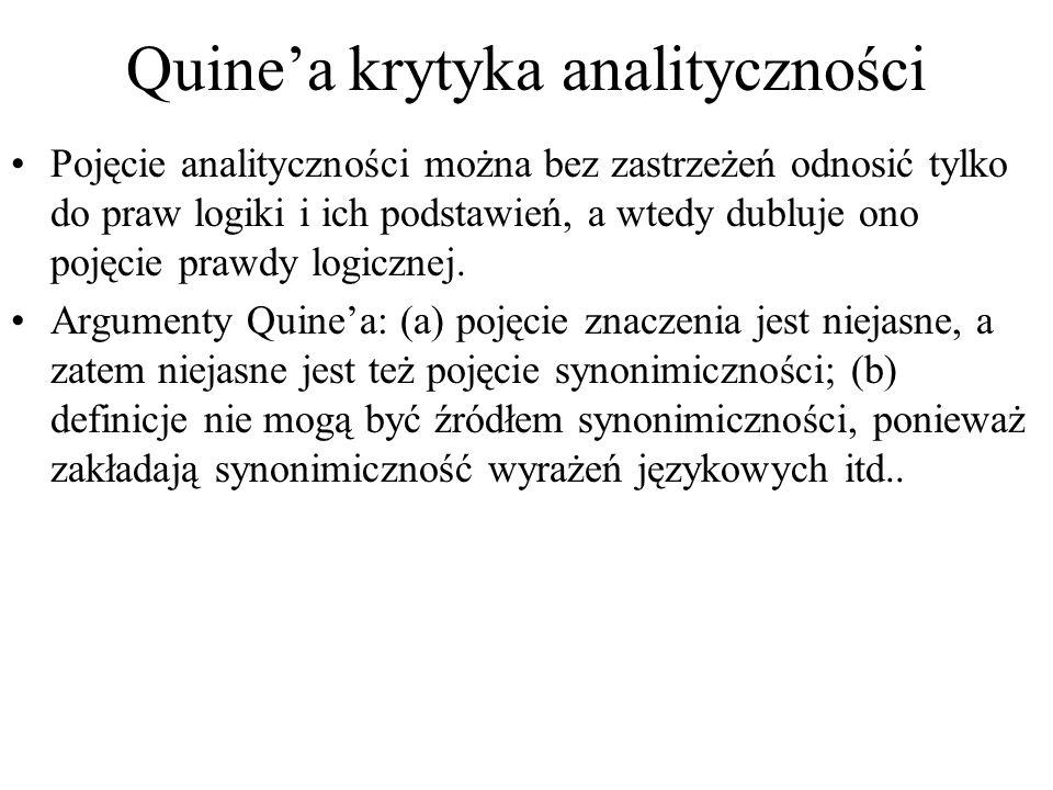 Quine'a krytyka analityczności