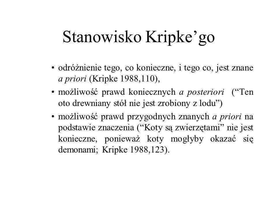 Stanowisko Kripke'go odróżnienie tego, co konieczne, i tego co, jest znane a priori (Kripke 1988,110),