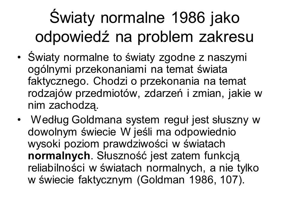 Światy normalne 1986 jako odpowiedź na problem zakresu