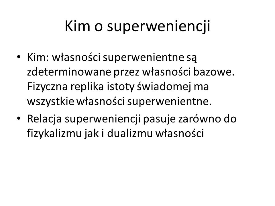 Kim o superweniencji