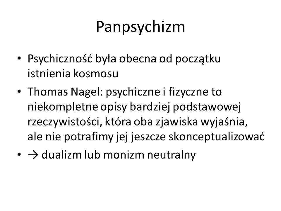 Panpsychizm Psychiczność była obecna od początku istnienia kosmosu