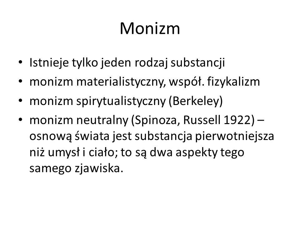 Monizm Istnieje tylko jeden rodzaj substancji