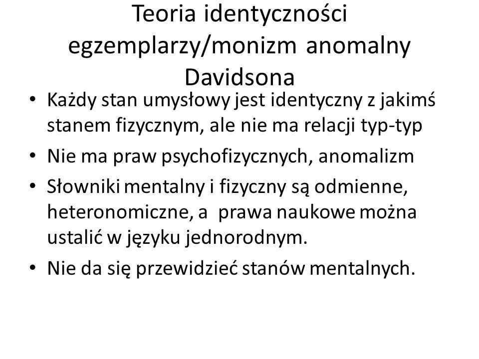 Teoria identyczności egzemplarzy/monizm anomalny Davidsona