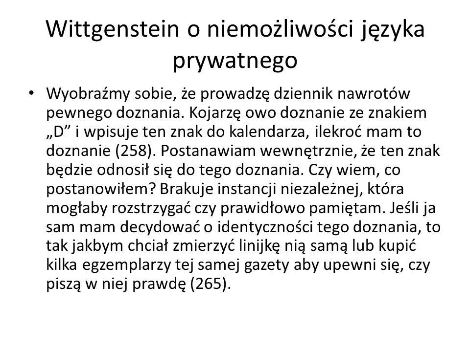 Wittgenstein o niemożliwości języka prywatnego