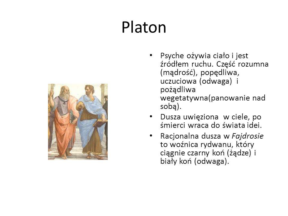 Platon Psyche ożywia ciało i jest źródłem ruchu. Część rozumna (mądrość), popędliwa, uczuciowa (odwaga) i pożądliwa wegetatywna(panowanie nad sobą).