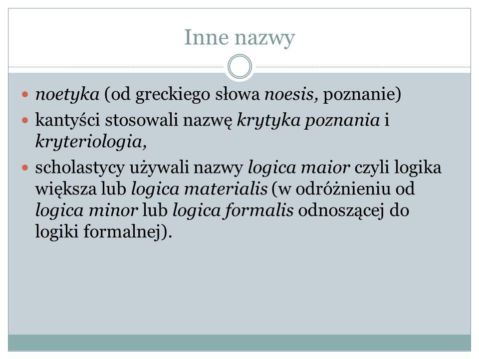 Inne nazwy noetyka (od greckiego słowa noesis, poznanie)
