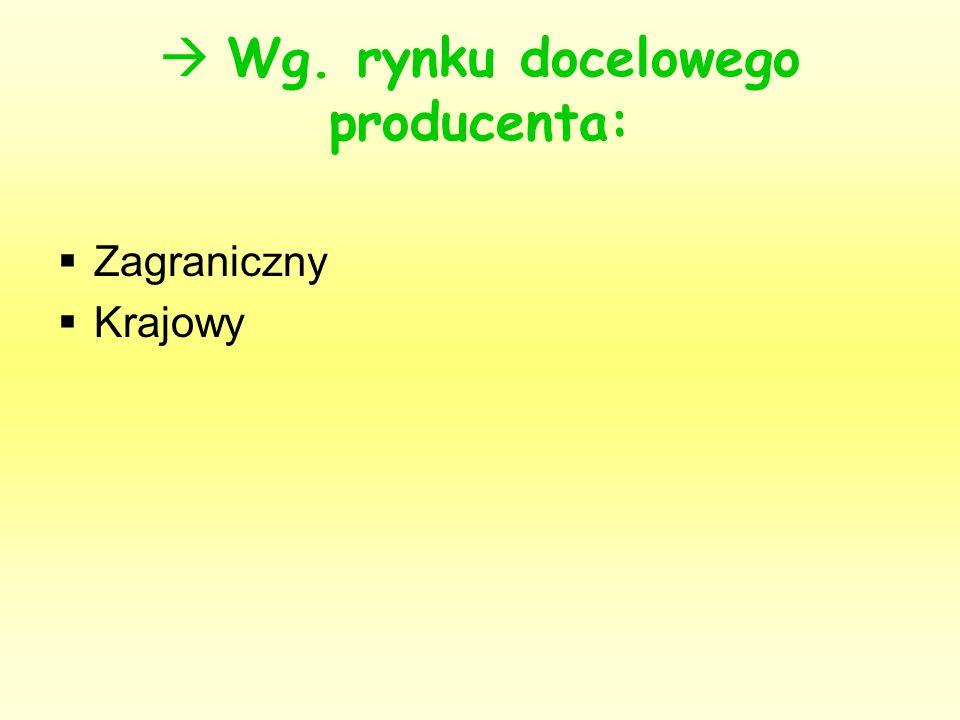  Wg. rynku docelowego producenta:
