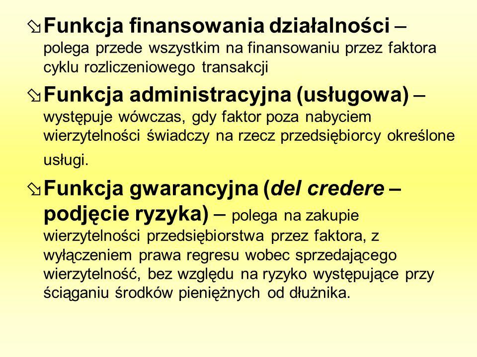 Funkcja finansowania działalności – polega przede wszystkim na finansowaniu przez faktora cyklu rozliczeniowego transakcji