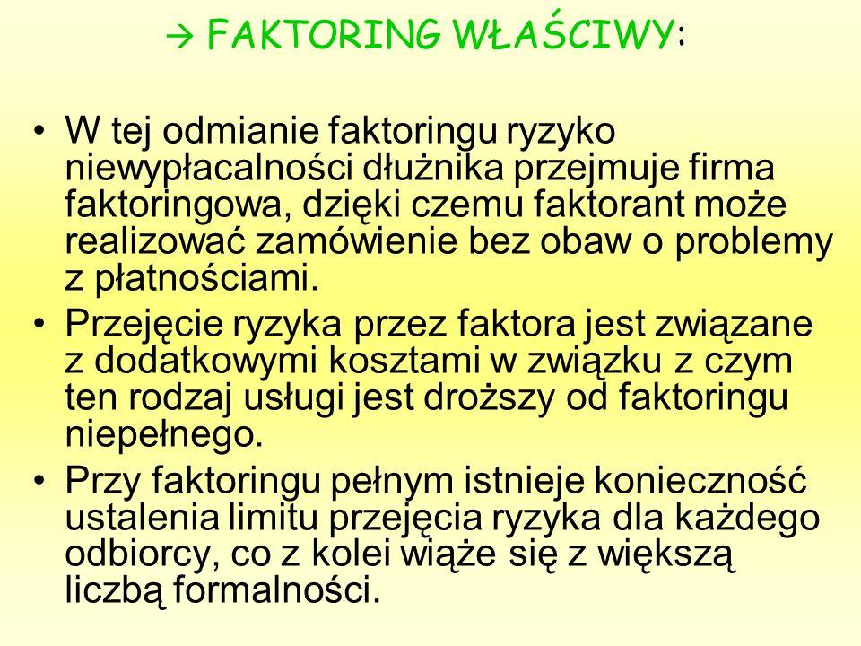  FAKTORING WŁAŚCIWY: