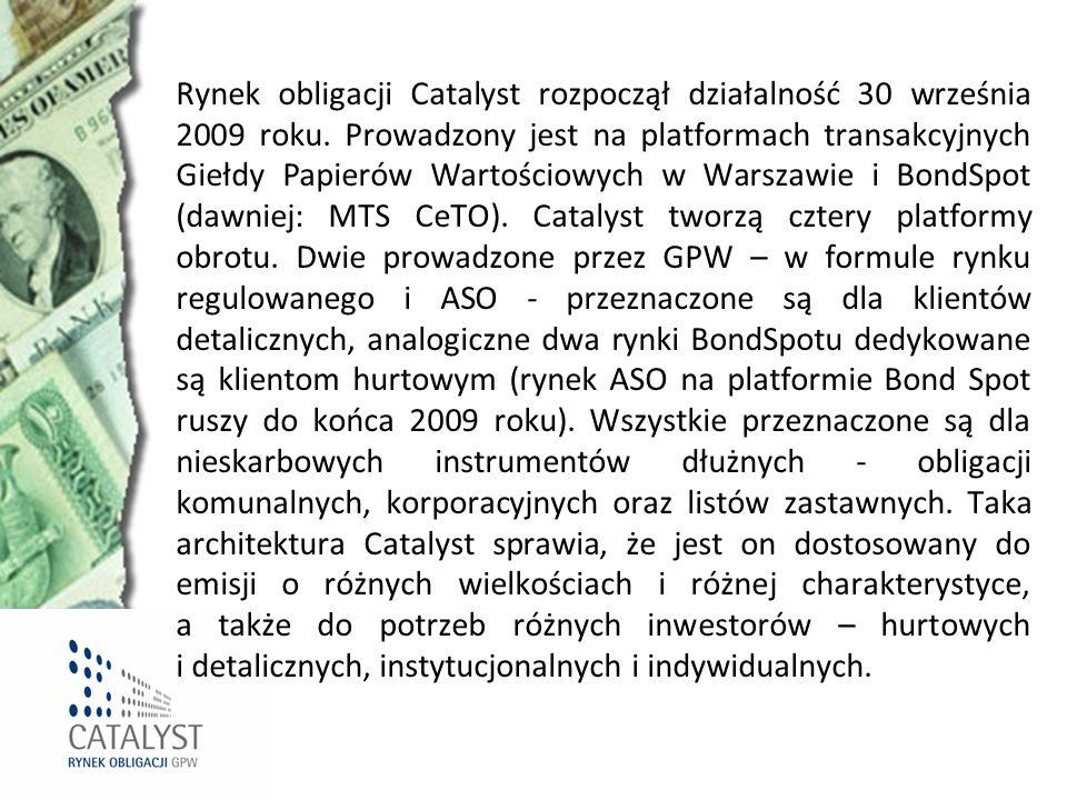Rynek obligacji Catalyst rozpoczął działalność 30 września 2009 roku