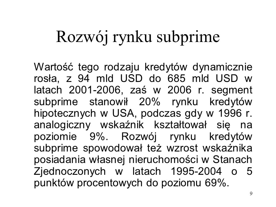 Rozwój rynku subprime