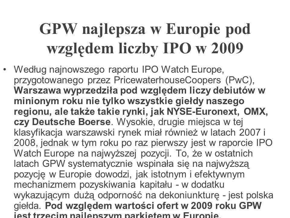 GPW najlepsza w Europie pod względem liczby IPO w 2009