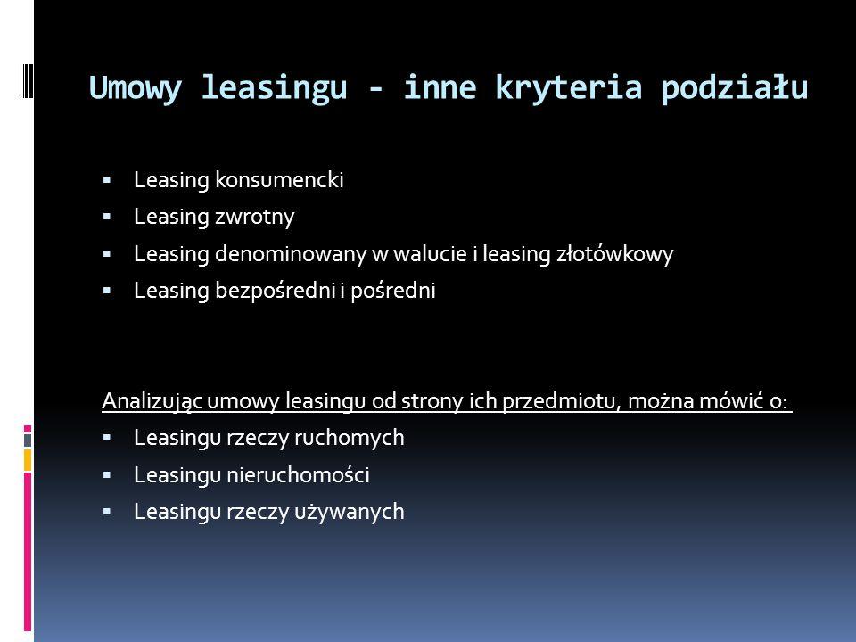 Umowy leasingu - inne kryteria podziału