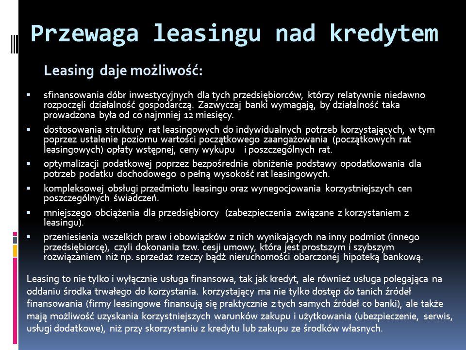 Przewaga leasingu nad kredytem