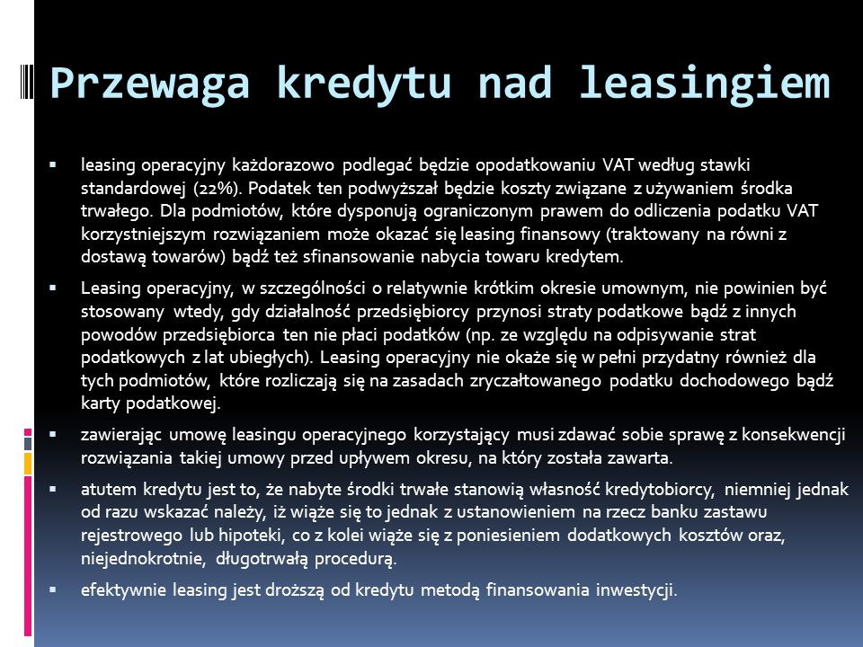 Przewaga kredytu nad leasingiem