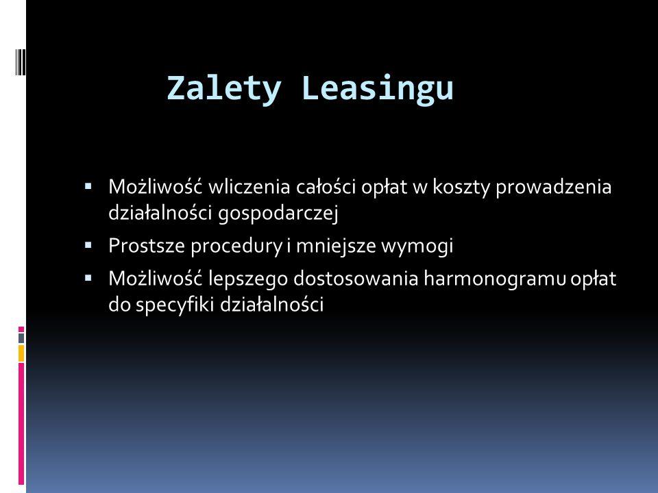 Zalety Leasingu Możliwość wliczenia całości opłat w koszty prowadzenia działalności gospodarczej. Prostsze procedury i mniejsze wymogi.
