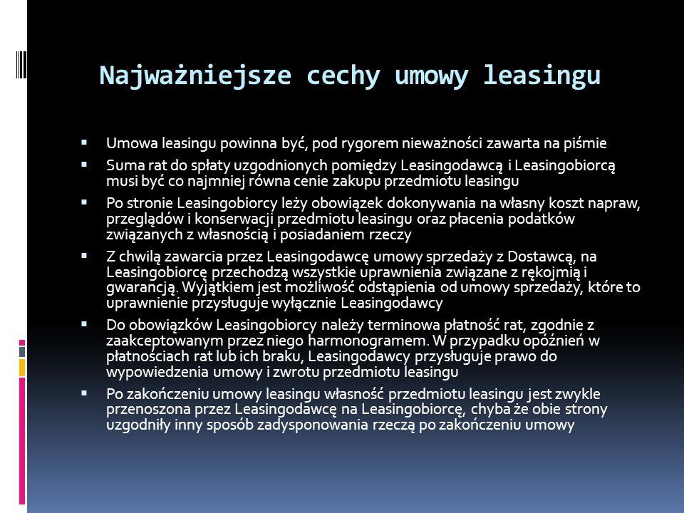 Najważniejsze cechy umowy leasingu