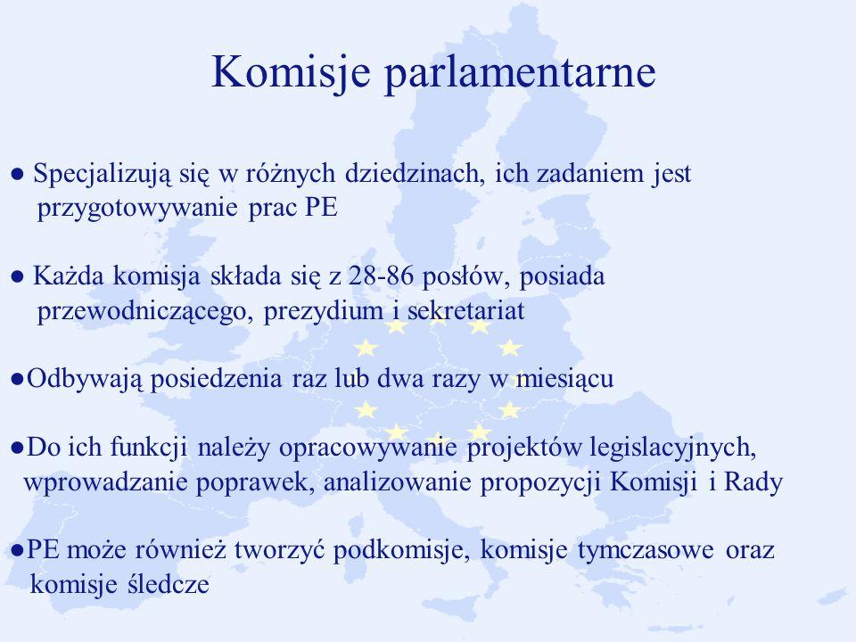 Komisje parlamentarne ● Specjalizują się w różnych dziedzinach, ich zadaniem jest przygotowywanie prac PE ● Każda komisja składa się z 28-86 posłów, posiada przewodniczącego, prezydium i sekretariat ●Odbywają posiedzenia raz lub dwa razy w miesiącu ●Do ich funkcji należy opracowywanie projektów legislacyjnych, wprowadzanie poprawek, analizowanie propozycji Komisji i Rady ●PE może również tworzyć podkomisje, komisje tymczasowe oraz komisje śledcze