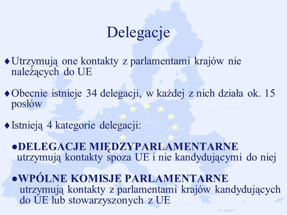 Delegacje Utrzymują one kontakty z parlamentami krajów nie należących do UE Obecnie istnieje 34 delegacji, w każdej z nich działa ok.