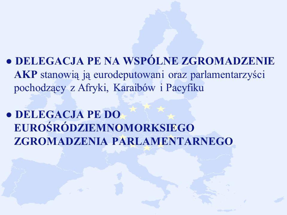 ● DELEGACJA PE NA WSPÓLNE ZGROMADZENIE AKP stanowią ją eurodeputowani oraz parlamentarzyści pochodzący z Afryki, Karaibów i Pacyfiku ● DELEGACJA PE DO EUROŚRÓDZIEMNOMORKSIEGO ZGROMADZENIA PARLAMENTARNEGO