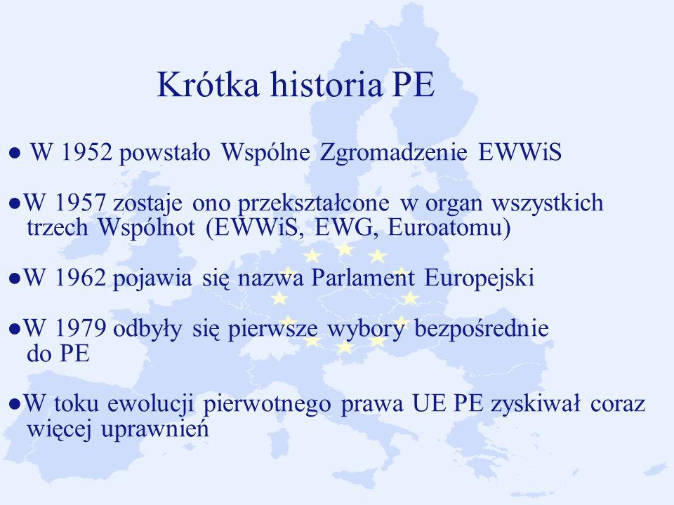 Krótka historia PE ● W 1952 powstało Wspólne Zgromadzenie EWWiS ●W 1957 zostaje ono przekształcone w organ wszystkich trzech Wspólnot (EWWiS, EWG, Euroatomu) ●W 1962 pojawia się nazwa Parlament Europejski ●W 1979 odbyły się pierwsze wybory bezpośrednie do PE ●W toku ewolucji pierwotnego prawa UE PE zyskiwał coraz więcej uprawnień