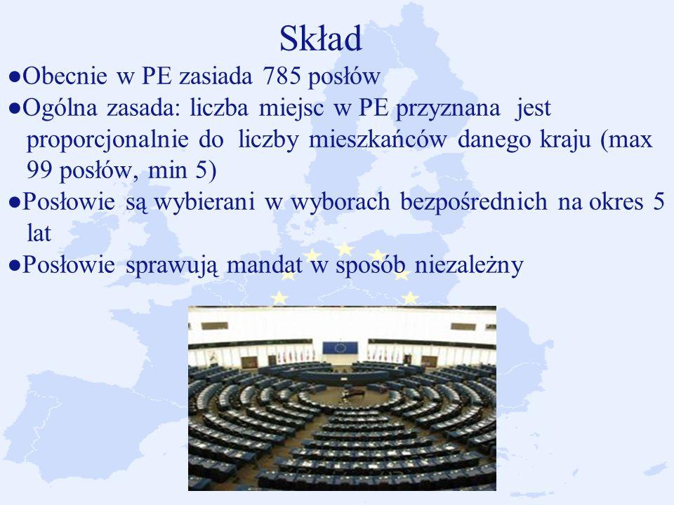 Skład ●Obecnie w PE zasiada 785 posłów ●Ogólna zasada: liczba miejsc w PE przyznana jest proporcjonalnie do liczby mieszkańców danego kraju (max 99 posłów, min 5) ●Posłowie są wybierani w wyborach bezpośrednich na okres 5 lat ●Posłowie sprawują mandat w sposób niezależny