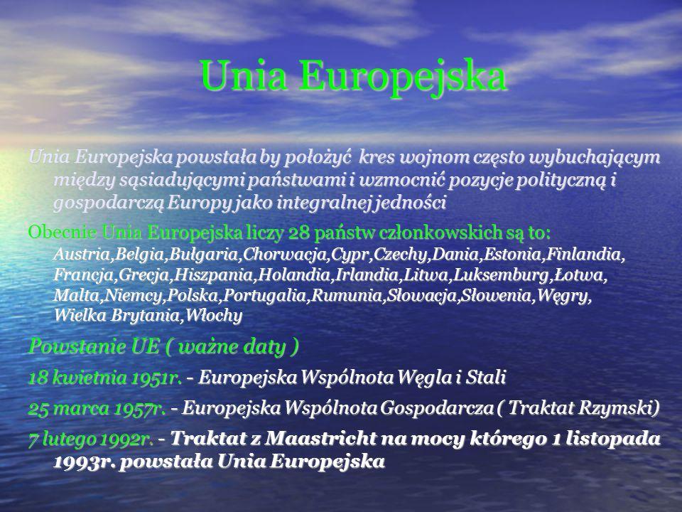 Unia Europejska Powstanie UE ( ważne daty )