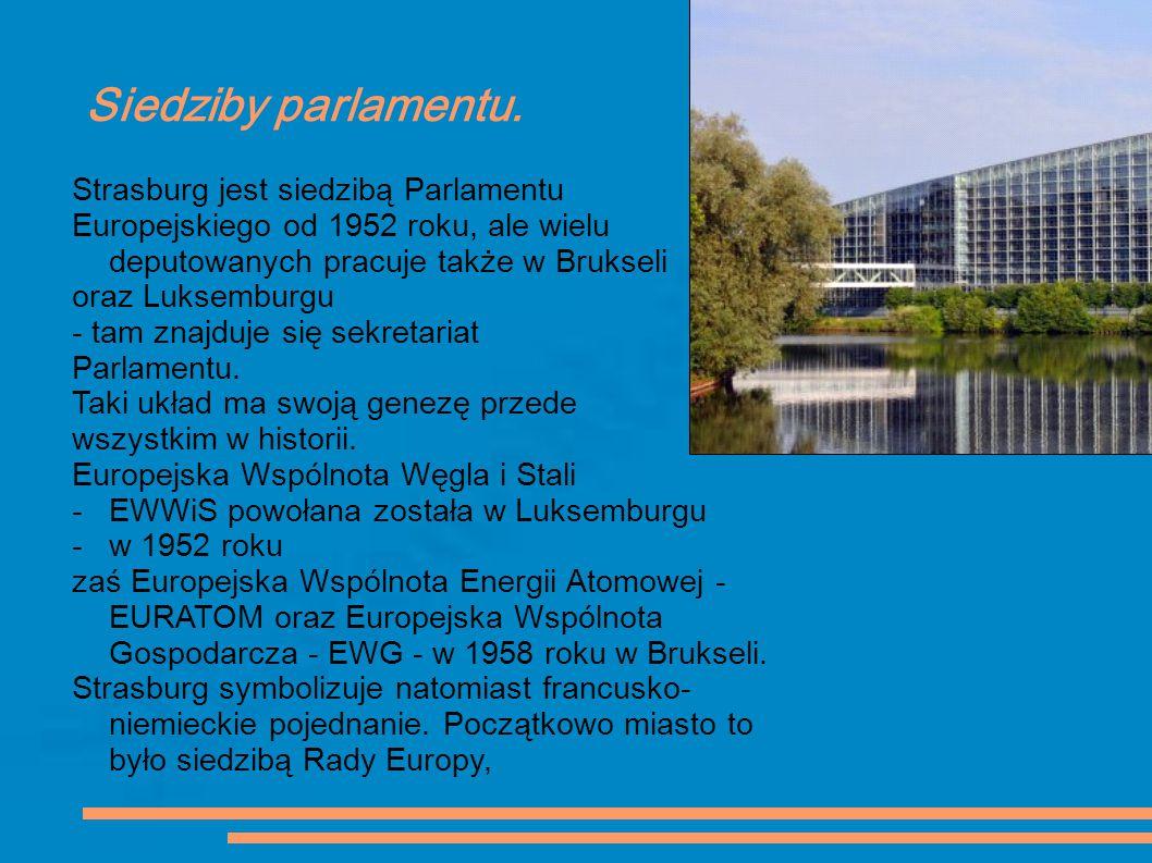Siedziby parlamentu. Strasburg jest siedzibą Parlamentu