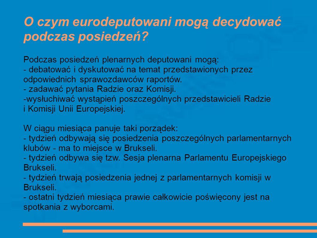 O czym eurodeputowani mogą decydować podczas posiedzeń