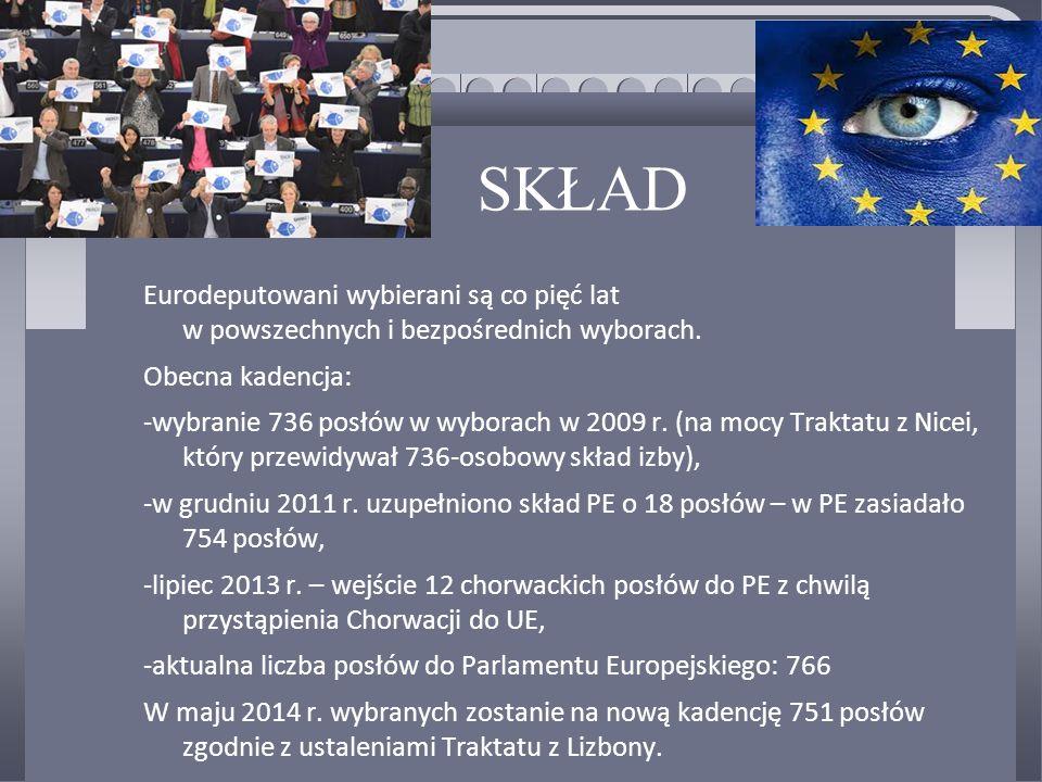 SKŁAD Eurodeputowani wybierani są co pięć lat w powszechnych i bezpośrednich wyborach. Obecna kadencja: