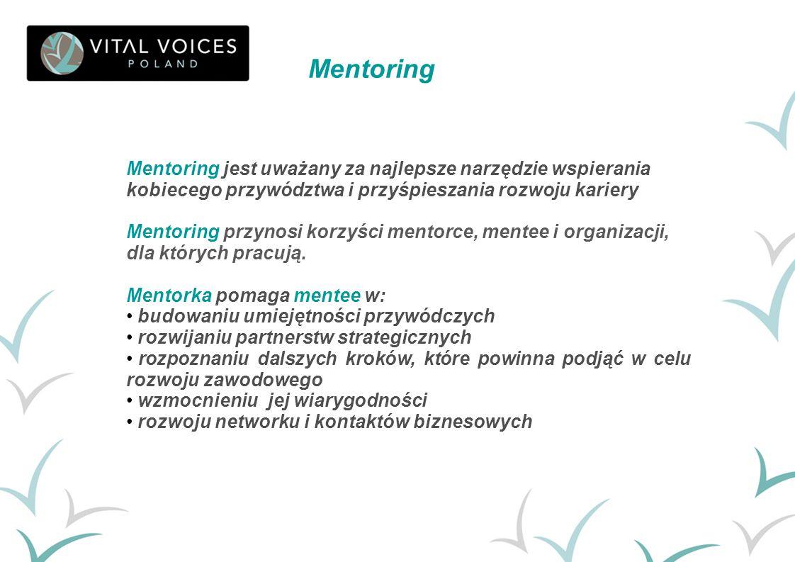 Mentoring Mentoring jest uważany za najlepsze narzędzie wspierania kobiecego przywództwa i przyśpieszania rozwoju kariery.