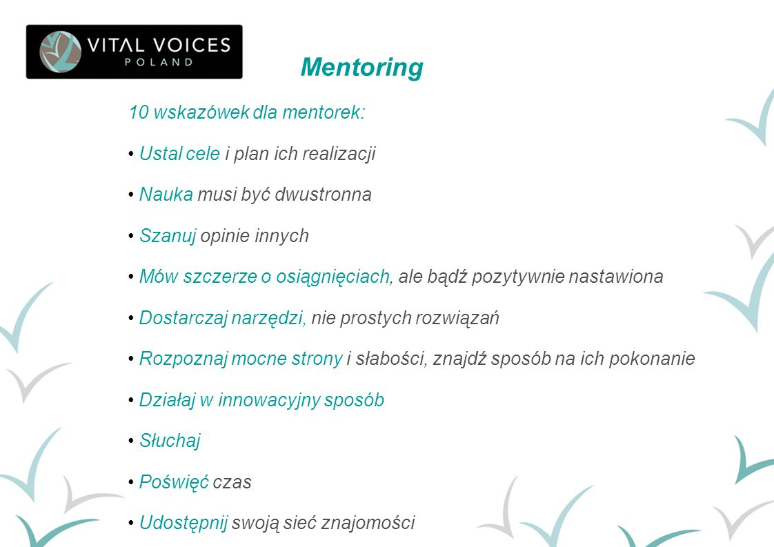 Mentoring 10 wskazówek dla mentorek: Ustal cele i plan ich realizacji