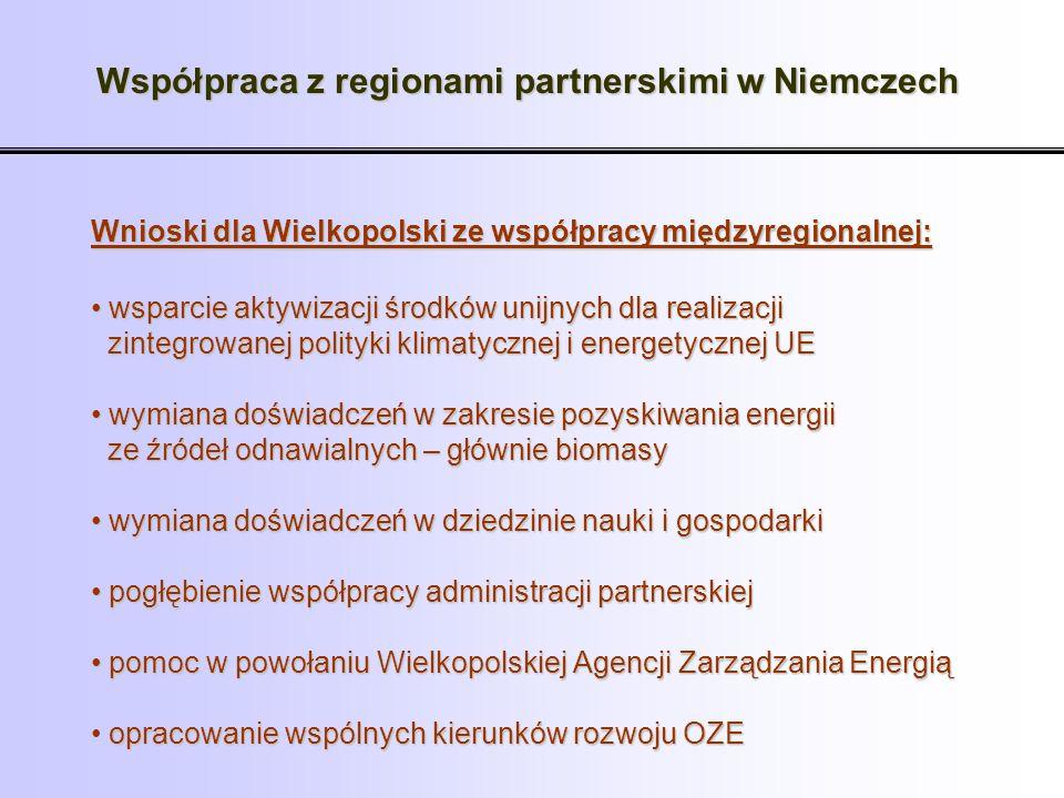 Wnioski dla Wielkopolski ze współpracy międzyregionalnej: