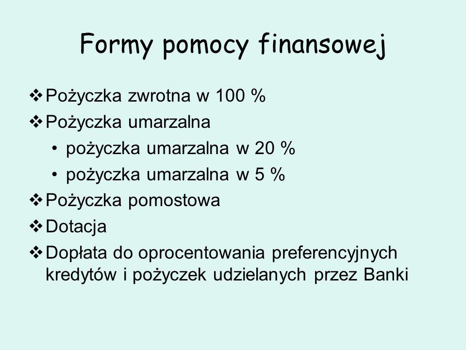 Formy pomocy finansowej