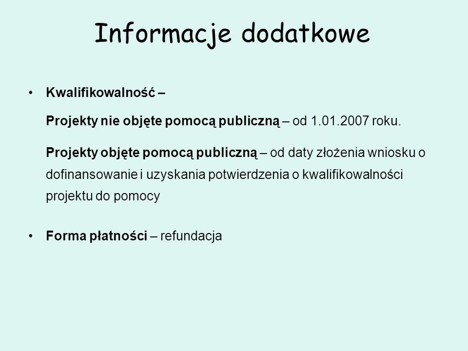Informacje dodatkowe Kwalifikowalność –