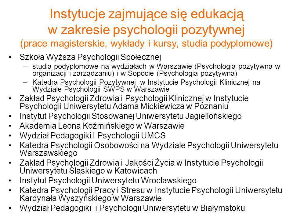 Instytucje zajmujące się edukacją w zakresie psychologii pozytywnej (prace magisterskie, wykłady i kursy, studia podyplomowe)