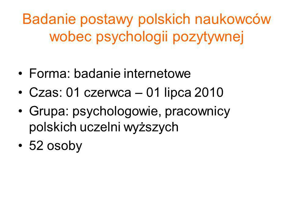 Badanie postawy polskich naukowców wobec psychologii pozytywnej