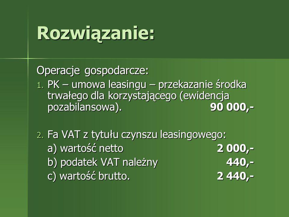 Rozwiązanie: Operacje gospodarcze: a) wartość netto 2 000,-