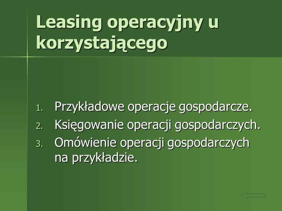 Leasing operacyjny u korzystającego