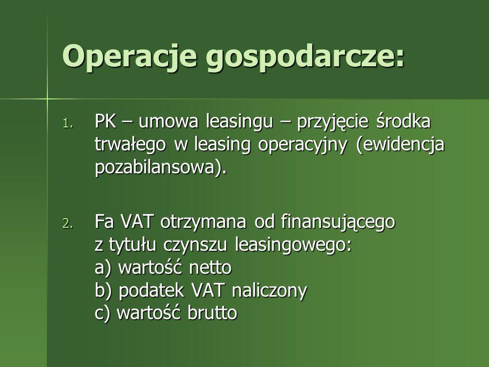 Operacje gospodarcze: