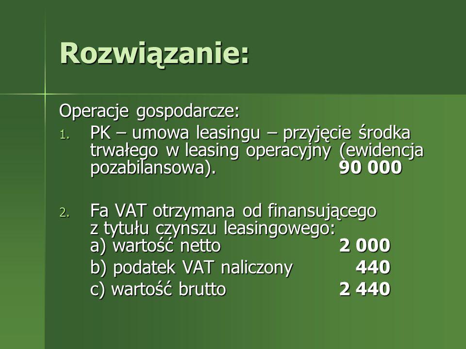 Rozwiązanie: Operacje gospodarcze: