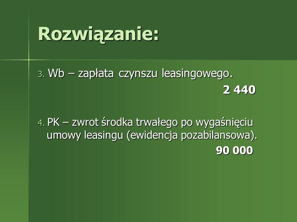 Rozwiązanie: 2 440 90 000 3. Wb – zapłata czynszu leasingowego.